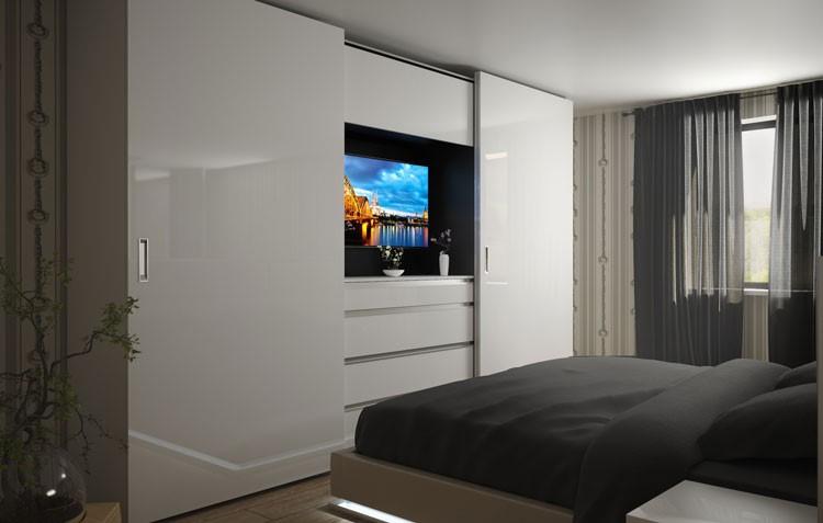 Шафи купе з телевізором в спальню